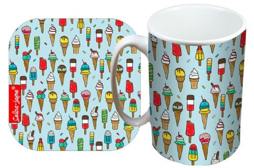 Selina-Jayne Ice Cream Limited Edition Designer Mug and Coaster Set